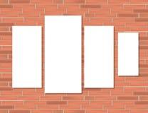 Lege kaders op rode bakstenen muur stock illustratie