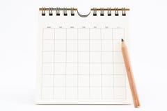Lege Kalender die op Wit wordt geïsoleerdo Stock Foto's