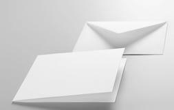 Lege kantoorbehoeften: envelop, prentbriefkaar Royalty-vrije Stock Afbeelding