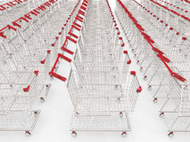 Lege karren op een rij Stock Foto's