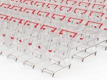 Lege karren op een rij Stock Foto