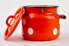 Lege keukenpot met deksel royalty-vrije stock foto