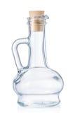 Lege kleine die fles voor olijfolie met cork kurk op w wordt geïsoleerd Stock Foto's