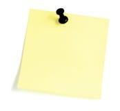 Lege Kleverige nota met Zwarte Rechtse Punaise Stock Afbeeldingen