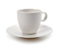 Lege koffiekop die op wit wordt geïsoleerd stock afbeeldingen
