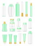Lege kosmetische buizen op wit Stock Afbeelding