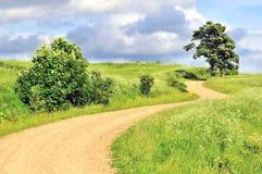 De lege landelijke achtergrond van de landschaps mooie weg Stock Fotografie