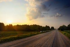 Lege Landweg in Platteland Stock Afbeelding