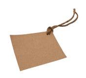 Lege markering die met bruin koord wordt gebonden Royalty-vrije Stock Fotografie