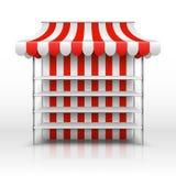 Lege marktkraam Kiosk met gestreept afbaardend vectormalplaatje royalty-vrije illustratie