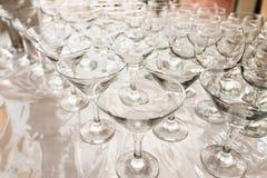 Lege martini-glazenclose-up Stock Afbeeldingen