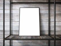 Lege metaalplanken met het lege kader 3d teruggeven Royalty-vrije Stock Afbeelding