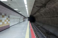 Lege metropost in Istanboel stock foto's
