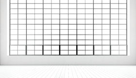 Lege moderne vergaderzaal reusachtige panoramische vensters, natuurlijke geschilderde witte houten vloer, blinde muren Generisch  Royalty-vrije Stock Foto's