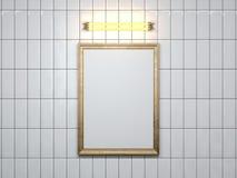 Lege omlijsting met lamp op de muur het 3d teruggeven Stock Afbeeldingen