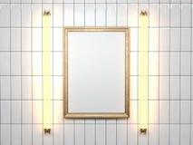 Lege omlijsting met lamp op de witte muur het 3d teruggeven Stock Foto