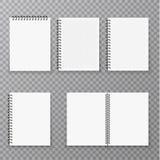 Lege open en gesloten realistische notitieboekjeinzameling, organisator en geïsoleerd agenda vectormalplaatje Document paginaorga royalty-vrije illustratie