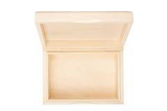 Lege open houten doos die op een wit wordt geïsoleerdg. Royalty-vrije Stock Afbeelding