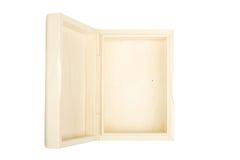 Lege open houten doos die op een wit wordt geïsoleerdg. Stock Afbeelding