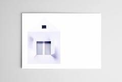 Lege open kaart met document huis Royalty-vrije Stock Afbeeldingen