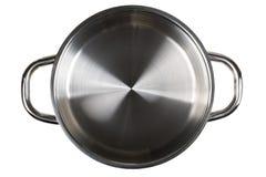 Lege open roestvrij staal het koken potten hoogste mening van bovengenoemde isola royalty-vrije stock foto's
