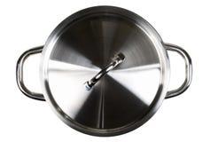 Lege open roestvrij staal het koken potten hoogste mening van bovengenoemde isola stock foto