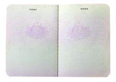 Lege oude Australische paspoortpagina's Stock Foto's