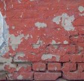 Lege Oude Bakstenen muurtextuur Geschilderde Verontruste Muuroppervlakte Grungy Brede Brickwall Het Grungerood obstructie voert a royalty-vrije stock afbeelding
