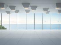 Lege overzeese meningsruimte, Modern wit binnenland van luxehuis Stock Foto's