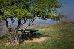 Lege picknicklijst royalty-vrije stock afbeelding