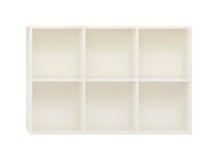 Lege Planken in het witte houten die rek op wit wordt geïsoleerd Royalty-vrije Stock Afbeeldingen