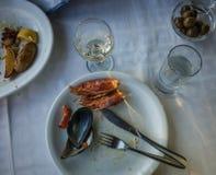 Lege platen met resten van voedsel na de lunch Royalty-vrije Stock Afbeeldingen