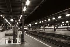 Station bij nacht Stock Foto