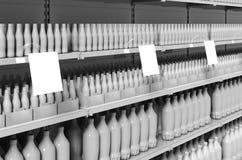 Lege producten op supermarktplanken met vierkante wobblers in perspectief Model vector illustratie