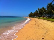Lege rek van strand in Noumea Nieuw-Caledonië stock afbeeldingen