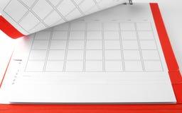 Lege rode bureaukalender met lijnen voor nota's over witte achtergrond stock foto