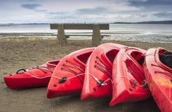 Lege rode plastic recreatieve die kajaks voor huur of huur, op zandig strand na uren op een regenachtige dag wordt opgeslagen Cre Stock Foto