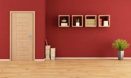 woonkamer met rode muur en ingang. royaltyvrije stock foto's, Meubels Ideeën