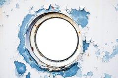 Lege ronde patrijspoort in schipmuur Stock Afbeelding