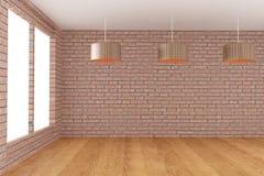 Lege ruimte in bakstenen muur met lamp in het 3D teruggeven Royalty-vrije Stock Afbeelding