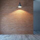 Lege ruimte met bakstenen muur en verlichting, het 3d teruggeven stock illustratie
