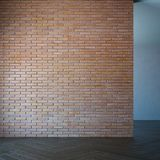 Lege ruimte met bakstenen muur, het 3d teruggeven Royalty-vrije Stock Foto's