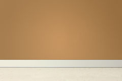 Lege ruimte met bruin muur en linoleum Stock Fotografie