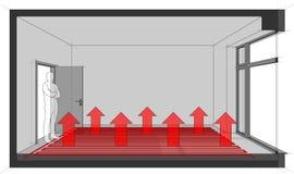 Lege ruimte met Frans venster en vloer het verwarmen stock illustratie
