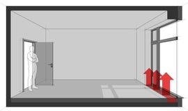 Lege ruimte met Frans venster en vloer het verwarmen convector vector illustratie