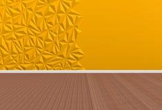 Lege ruimte met gele muur en houten vloer Stock Foto