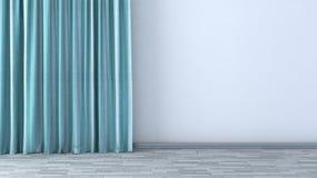 Lege ruimte met groene gordijnen Stock Afbeelding