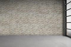Lege ruimte met witte bakstenen muur Stock Foto