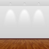 Lege ruimte met witte muur en houten vloer royalty-vrije illustratie