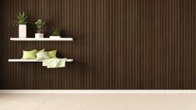 Lege ruimte, planken met hoofdkussens en succulente ingemaakte installaties, hij royalty-vrije stock foto's